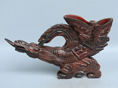 Chinese Exquisite Hand carved Dragon Carving OX Horn cup