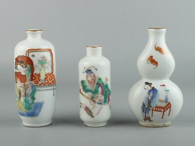 Chinese Exquisite Handmade character porcelain snuff bottle 3pcs