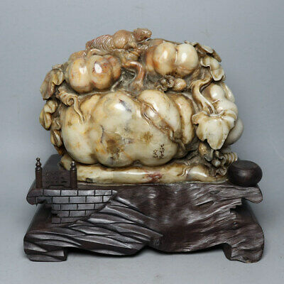 Chinese Exquisite Hand carved squirrel melon carving Shoushan Stone Seal