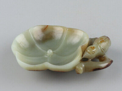 Chinese Exquisite Hand-carved bird Carving Hetian jade Brush Washer