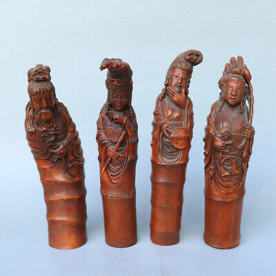 Chinese Exquisite Handmade beauty Carving bamboo statue 4pcs