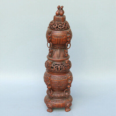 Chinese Exquisite Handmade beast Carving bamboo incense burner