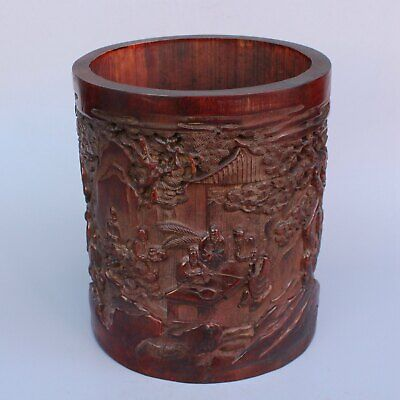 Chinese Exquisite Hand carved character carving bamboo Brush Pot
