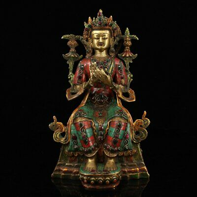 Chinese Exquisite Handmade copper mosaic turquoise statue
