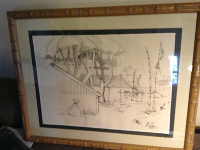 "Original Pencil Drawing of ""Rustic Home With Geese"" - Signed And Framed"