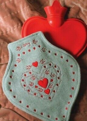 Victorian Trading Co Swiss Embroidery Flannel Heart Red Rubber Water Bottle