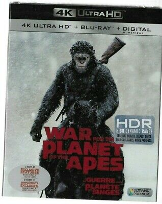 Sealed New - 4K Ultra HD + Blu-Ray WAR FOR THE PLANET OF THE APES Also In French