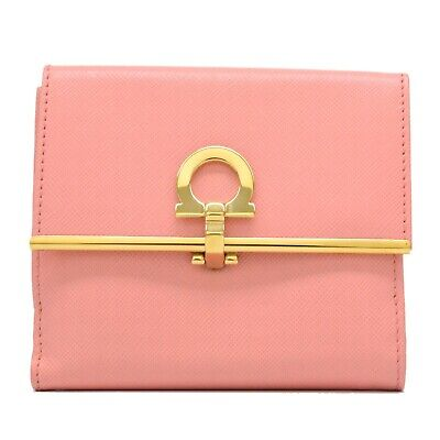 Authentic Salvatore Ferragamo Gancini Leather Compact Wallet Purse Pink Gold