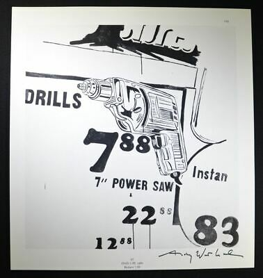 "Andy Warhol, Hand Signed Print ""Drills"", with COA.  Unique Warhol Artwork."