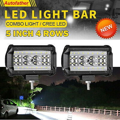 Pair 5 inch 112W CREE LED Work Light Bar Spot Flood Offroad Driving Lamp 4WD SUV