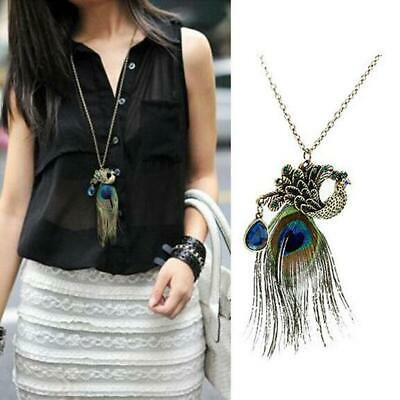 Women Vintage Style Ethnic Style Peacock Feather Long Pendant Necklace EHE8