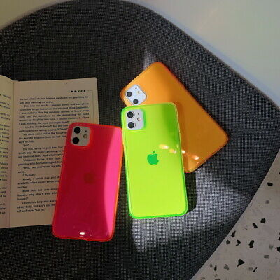 For iPhone 11 Pro Max XR XS X 8 7 Plus Fluorescence Transparent Phone Case Cover