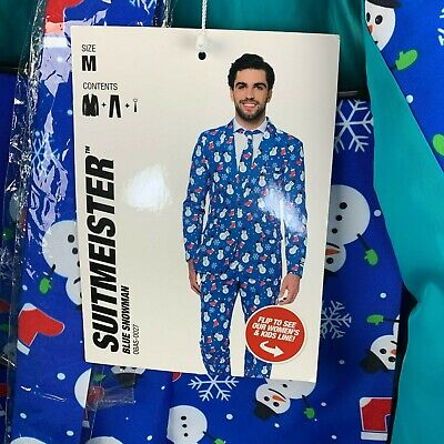 Suitmeister Mens Size M Suit Snowman Blue Holiday 3 Piece Jacket Tie Pants