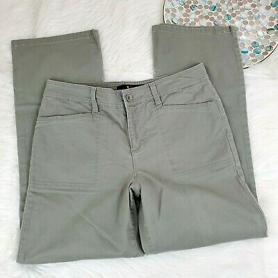 Gloria Vanderbilt Womens Pants Size 8 Short Green Mid Rise Straight Leg Stretch