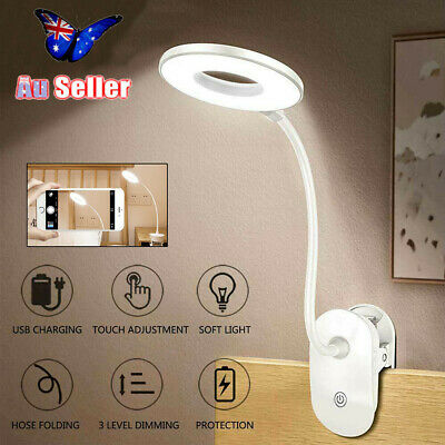 Flexible USB Rechargeable Clip On Reading Light Dimmable LED Touch Desk Bed Lamp