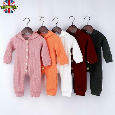 Newborn Baby Toddler Boy Girls Knit Hooded Romper Grows Clothes Playsuit Outfits