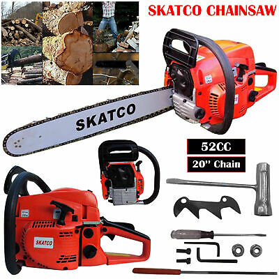 "Heavy Duty 20"" 52cc Chainsaw Wood Cutting Saw Cutter Two Stroke Petrol Engine"