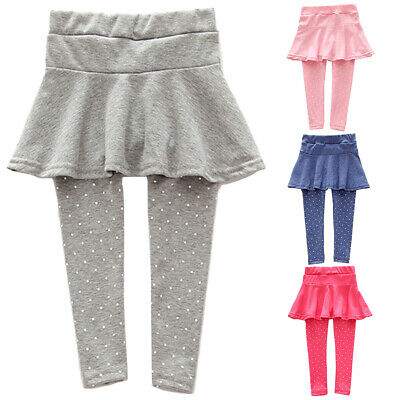 Children Girl Trendy Warm Dot Print Skirted Leggings Elastic Waist Pants All