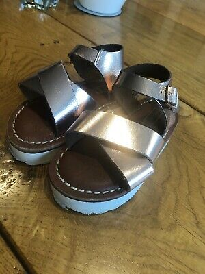 Sandals-UK-Sizes-Infant-10-2 H0R254 Girls-Spot-On-Rose Gold-Black-Gold
