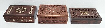 Wood Box Vintage Hand Carved Brass Inlay Work Trinket Jewelry Box Lot of 3