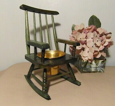 Vintage Miniature Wooden Chair - Plant Display With Copper Planter