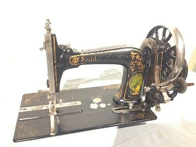 Faudels Antique Handcrank Sewing Machine with Peacock decal