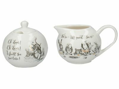 2x Victoria And Albert Alice In Wonderland Sugar Bowl And Creamer