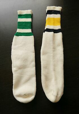 vintage 70s TUBE SOCKS 2 pairs STRIPED athletic/80s GREEN/BLACK/YELLOW 3 STRIPE