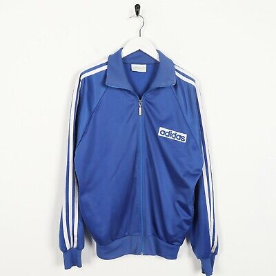 Vintage 80s ADIDAS Spell Out Logo Tracksuit Top Jacket Blue | Medium M