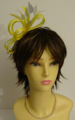 Yellow/silver grey fascinator on headband for wedding/mother of the bride