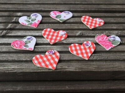 Wooden heart shapes with fabric front vintage style cardmaking valentines day