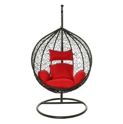 Hanging Rattan Egg Chair Weave Swing Patio Garden with Cushion In or Outdoor NEW