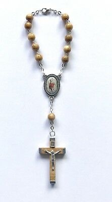 Car Rosary - Olive Wood / Wooden Beads - Single Decade / Saint St Christopher