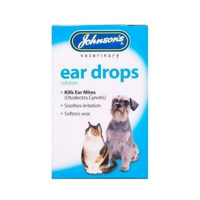 Johnson's Veterinary Dog Cat Ear Drops - Soothes Itching Infection & Kills Mites