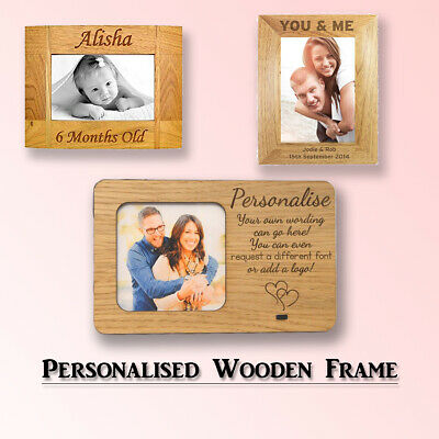 Personalised Engraved Wooden Frame Custom Photo Valentines Gift 40th Birthday