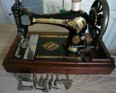 1901 Singer 28K Manivela Antigüedad Sewing Machines con Victoriano Calcomanías