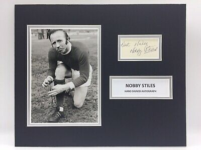 RARE Nobby Stiles England Signed Photo Display + COA AUTOGRAPH WORLD CUP 1966