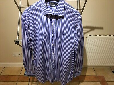 """Polo gents dress shirt, size 16"""" collar, blue pink white pinstripe, immaculate"""