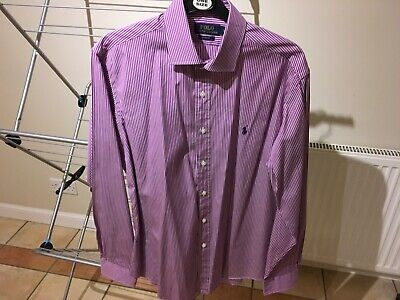 """Polo gents dress shirt, size 16"""" collar, purple and white pinstripe, immaculate"""