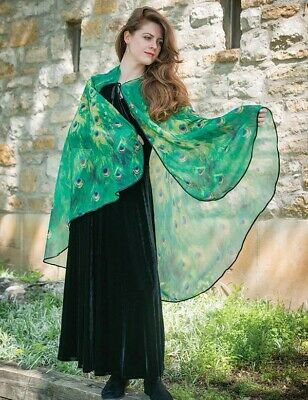 Victorian Trading Co Pretty as a Peacock Silky Sheer Green Cape 39C