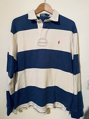 Vintage RALPH LAUREN Polo Jeans Striped  Rugby Jumper | Classic 90s  | Large