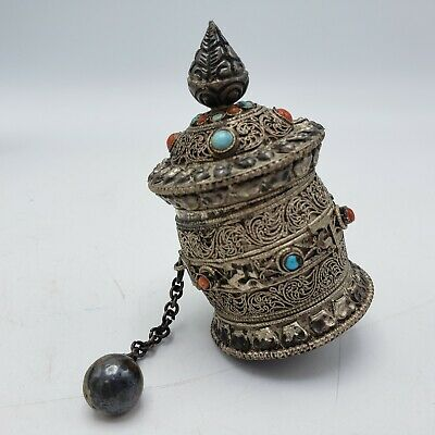 Early 18th Century Antique Tibetan Prayer Wheel Finely Detailed w/ Prayer Inside