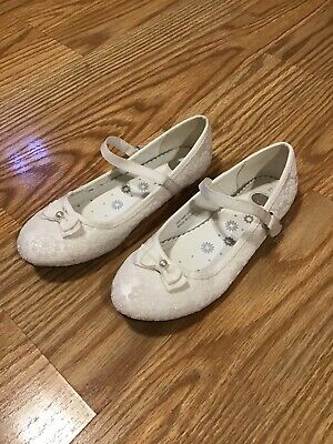 Girls Tu Size 2 White Sparkly Bow Pearl Dolly Shoes Strappy