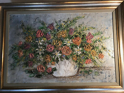 """Huge Sue Tushingham McNary """"Still Life With Vase Of Flowers"""" Oil Painting-Framed"""