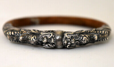 Antique Chinese Sterling Silver and Bamboo Double Dragon Bracelet/Bangle