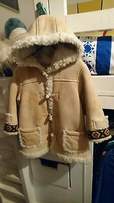 Vintage Boys Girls Kids Fur Duffle Coat