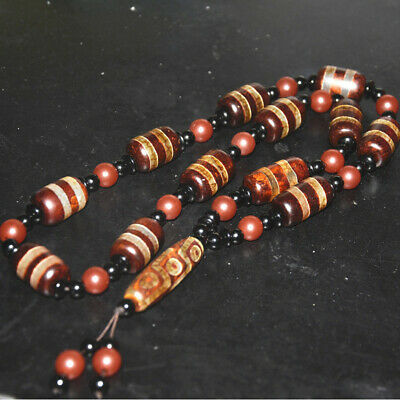 "Old Tibetan Natural Agate ""2 Line "" Pattern LARGE Dzi Bead  necklace"