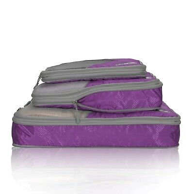 3 Pieces Set Travel 50% Compression Packing Cubes Packing Organizer Aid Luggage