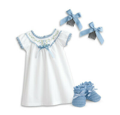 American Girl Addy Doll White & Blue Nightgown Outfit Knit Slippers Hair Bows