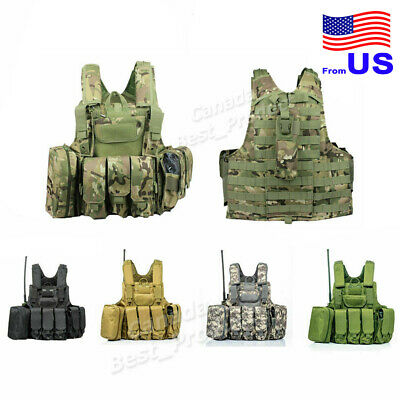Tactical Military Molle Adjustable Combat Vest Plate Carrier with Magazine Pouch